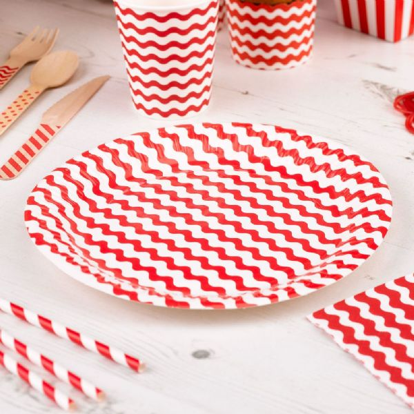 Carnival Red Paper Plates - Waves (8)